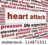 Heart attack medical message background. Heart disease poster design - stock photo