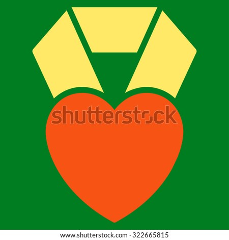 Heart Award glyph icon. Style is bicolor flat symbol, orange and yellow colors, rounded angles, green background. - stock photo