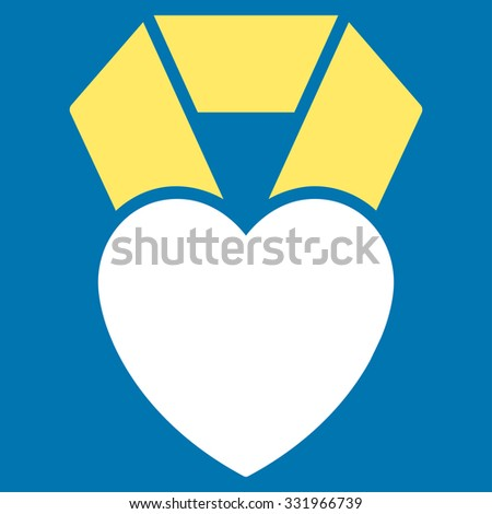 Heart Award illustration icon. Style is bicolor flat symbol, yellow and white colors, rounded angles, blue background. - stock photo