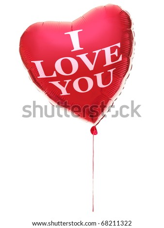 Heart balloon for valentines day with text: I love you. Red heart isolated on white background. - stock photo