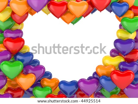Heart balloons background (love, valentine day series; 3d isolated characters) - stock photo