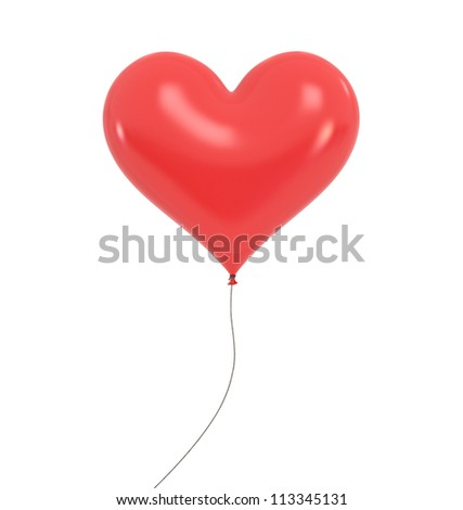 Heart Baloon - High quality Render with Clipping Path - stock photo