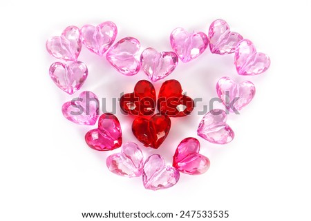 heart beads on white background .Valentines Day
