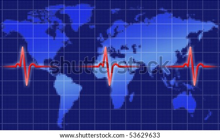 Heart beat of the world - stock photo