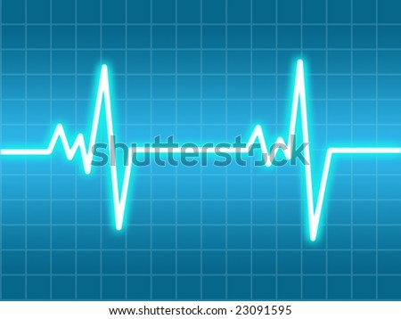 Heart beat on a blue monitor - stock photo