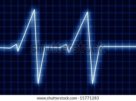heart beat on a clinic monitor on a dark background