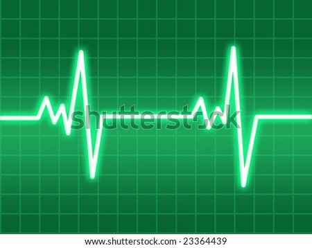 Heart beat on a green screen - stock photo