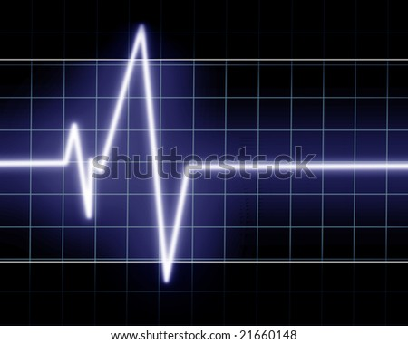 Heart beat on clinic monitor on a dark background