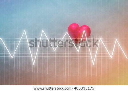 heart beats on Healthcare and Medical concept background with color tone