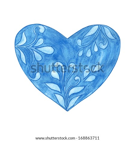 Heart. Blue heart. Watercolor heart with floral pattern. Watercolor painting handmade. Valentine's Day. - stock photo