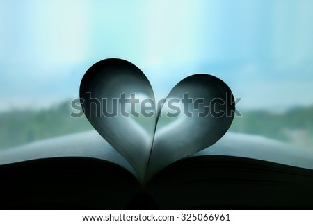 Heart book - Love shape concept with soft colour effects