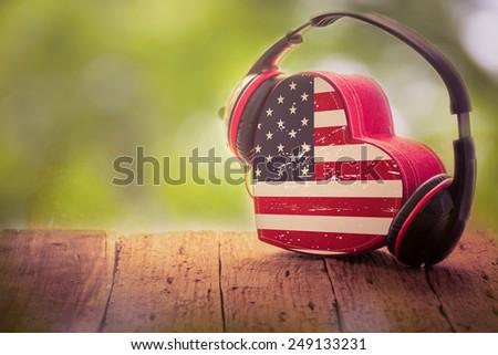 Heart box USA.music of love - stock photo