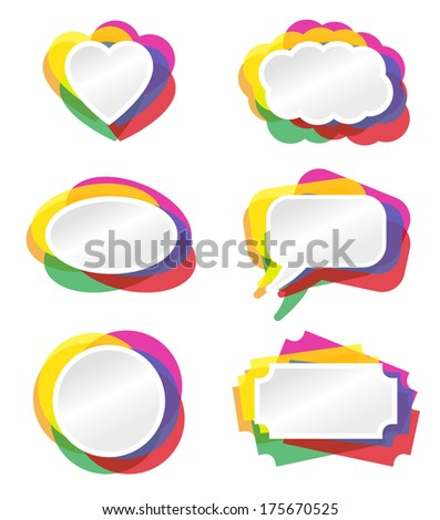 Heart, bubble and other banner vector illustration with colored border.