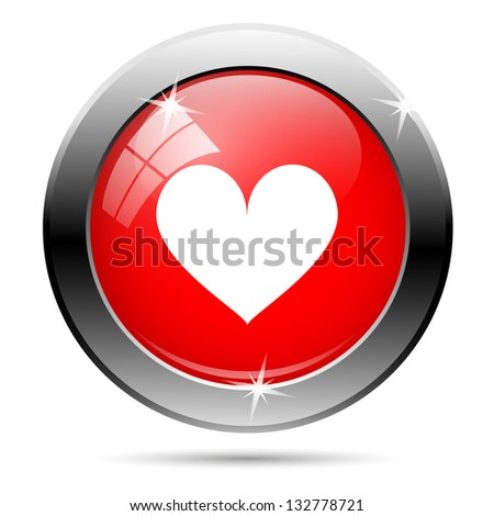 Heart button - white heart on red background icon. - stock photo