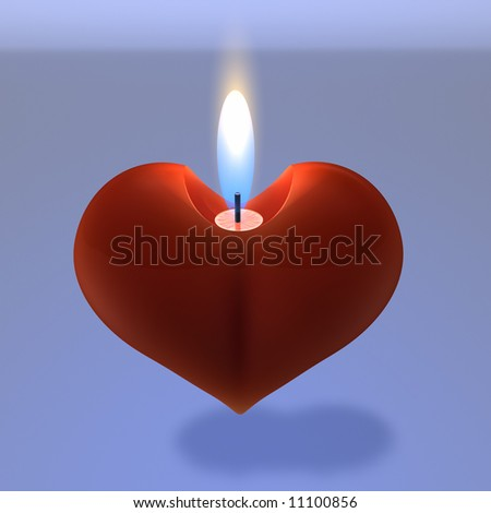 Heart Candle - stock photo