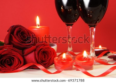 Heart Candles, Red Roses and Wine Romantic Meal Concept - stock photo