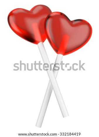 Heart candy lollipops isolated on a white background. - stock photo