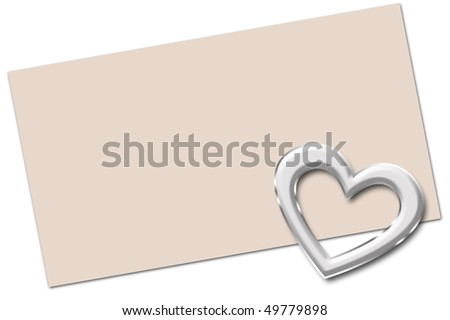 Heart card, blank. - stock photo