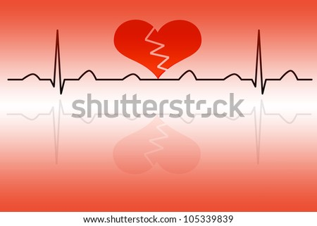 Heart cardiogram with broken heart