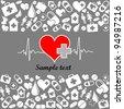Heart cardiogram with heart. Medicine vector seamless pattern.  Illustration - stock vector