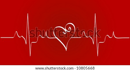 heart cardiogram with heart on red background - stock photo
