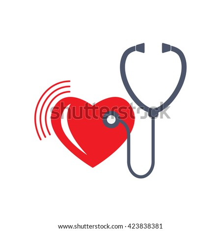 Heart care sign. Stethoscope and heart icon isolated on white background. Symbol or element for medicine design.