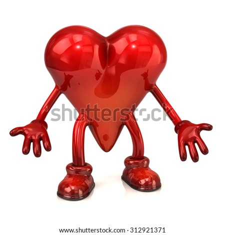 Heart character with open hands on white background