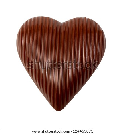 heart chocolate isolated on white background - stock photo