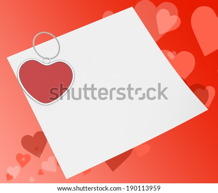Heart Clip On Note Meaning Affection Note Or Love Message - stock photo