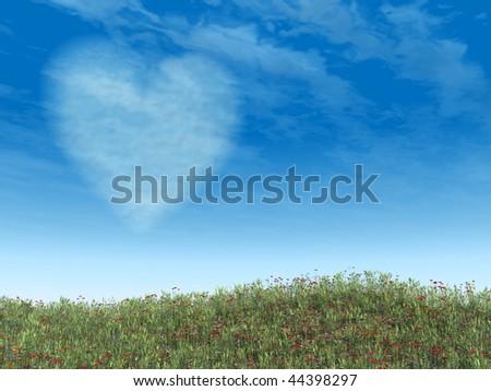 Heart cloud on blue sky over wild flowers field. - stock photo