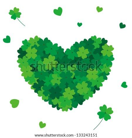 heart  clover - stock photo