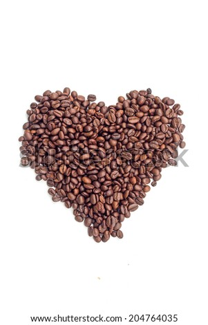 heart coffee beans on white background