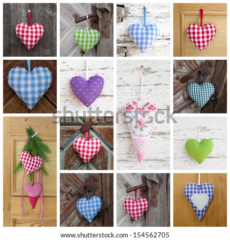 Heart collage with red, blue, violet, pink and green - on wooden backgrounds - stock photo