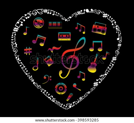 Heart collected from musical notes isolated on black - stock photo