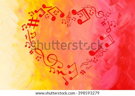 Heart collected from musical notes on bright background - stock photo