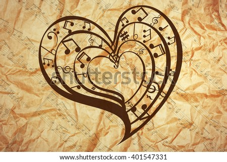 Heart collected from musical notes on brown background - stock photo