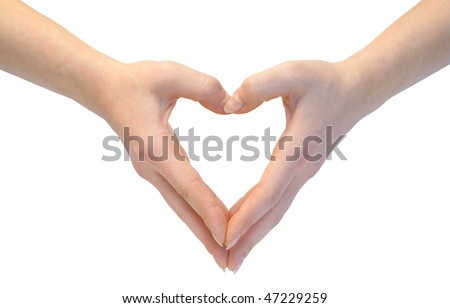 Heart combined from hands on white background