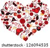 Heart, consisting of a number of individual objects. Rasterized copy of vector image. - stock photo