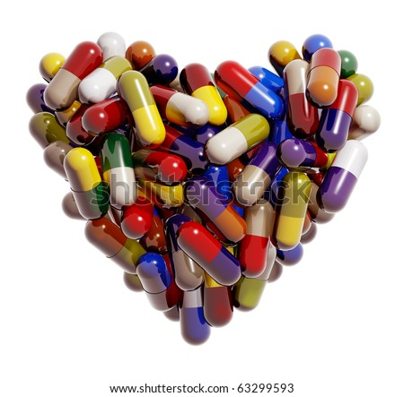 Heart created of colorful medical pills, capsules, cardiology symbolic image, healing, 3d - stock photo