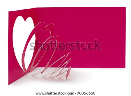 Heart cut out from red paper. Handmade card for Valentine's day with space for your text - stock photo