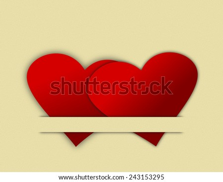 Heart Cutouts Tucked Together - stock photo