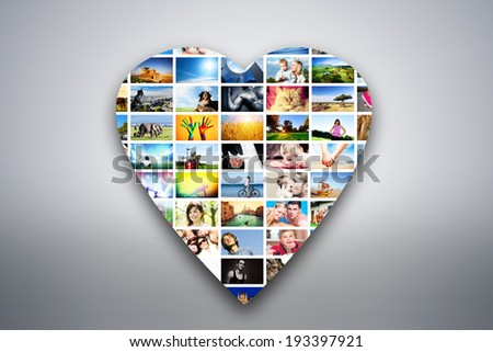 Heart design element made of pictures, photographs of people, animals and places. Conceptual background - stock photo