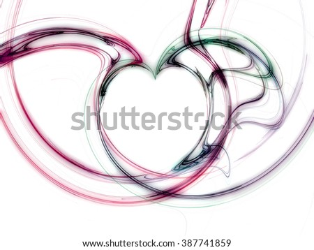 heart design in shades of red and green in front of a white background - stock photo