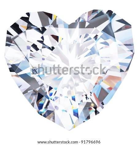heart diamond  on white background - stock photo