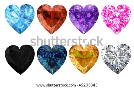 Heart diamonds set - stock photo