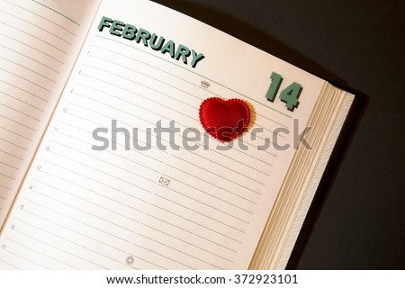 Heart. Diary. Valentine's day. February 14 - stock photo