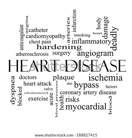 Heart Disease Word Cloud Concept in black and white with great terms such as plaque, ischemia, factors and more. - stock photo