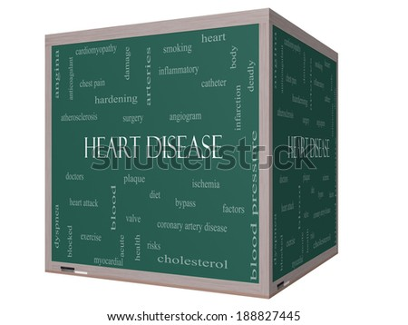 Heart Disease Word Cloud Concept on a 3D cube Blackboard with great terms such as plaque, ischemia, factors and more. - stock photo