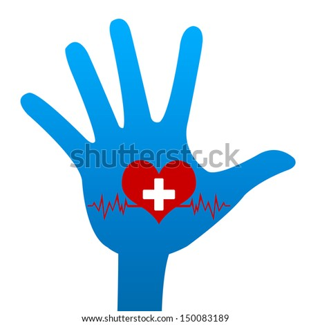Heart Donation Concept Present By Blue Hand With Red Heart and White Cross Over The Heart Pulse Graph Inside Isolated on White Background - stock photo