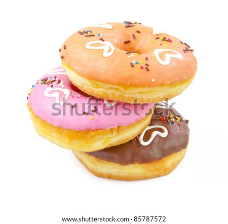 heart donuts isolated on white background - stock photo